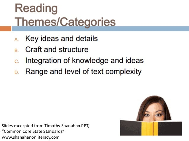 """Slides excerpted from Timothy Shanahan PPT, """"Common Core State Standards"""" www.shanahanonliteracy.com"""
