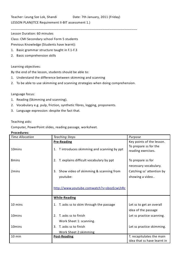 Teacher: Leung Sze Lok, Shandi           Date: 7th January, 2011 (Friday) LESSON PLAN(ITCE Requirement II-BIT assessment 1...
