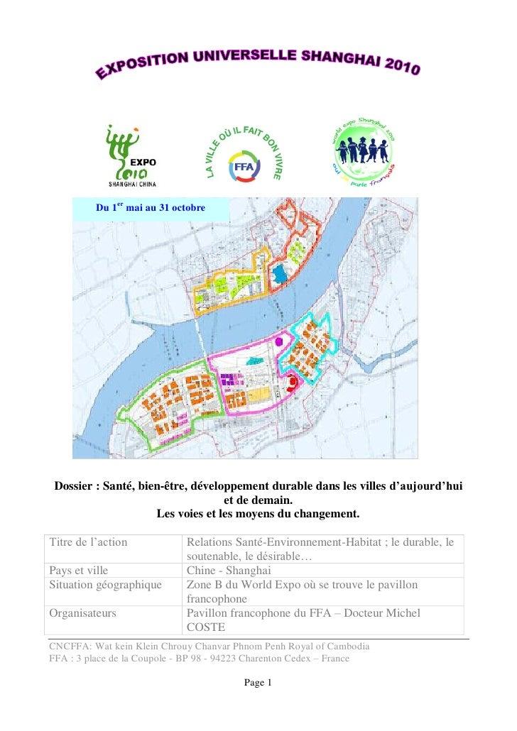 Du 1er mai au 31 octobre      Dossier : Santé, bien-être, développement durable dans les villes d'aujourd'hui             ...