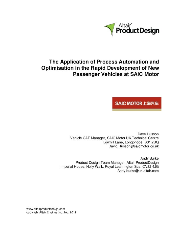 The Application of Process Automation and           Optimisation in the Rapid Development of New                       Pas...