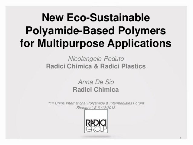 New Eco-Sustainable Polyamide-Based Polymers for Multipurpose Applications Nicolangelo Peduto Radici Chimica & Radici Plas...