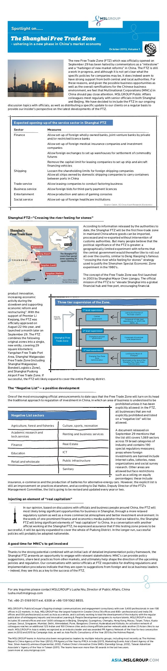 Spotlight on…..  The Shanghai Free Trade Zone - ushering in a new phase in China's market economy October 2013, Volume 1  ...