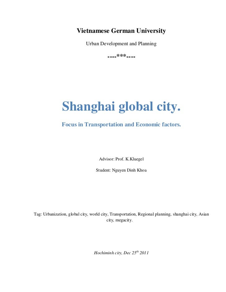 Vietnamese German University                             Urban Development and Planning                                   ...