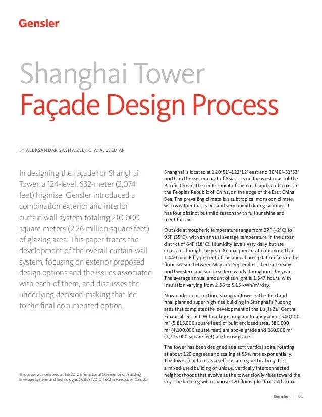 Shanghai Tower Façade Design Process BY ALEKSANDAR SASHA ZELJIC, AIA, LEED AP  In designing the façade for Shanghai Tower,...