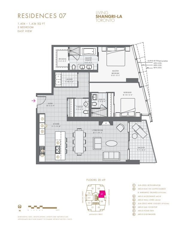 Living shangri la toronto 180 university ave toronto for Floor plans lafayette college