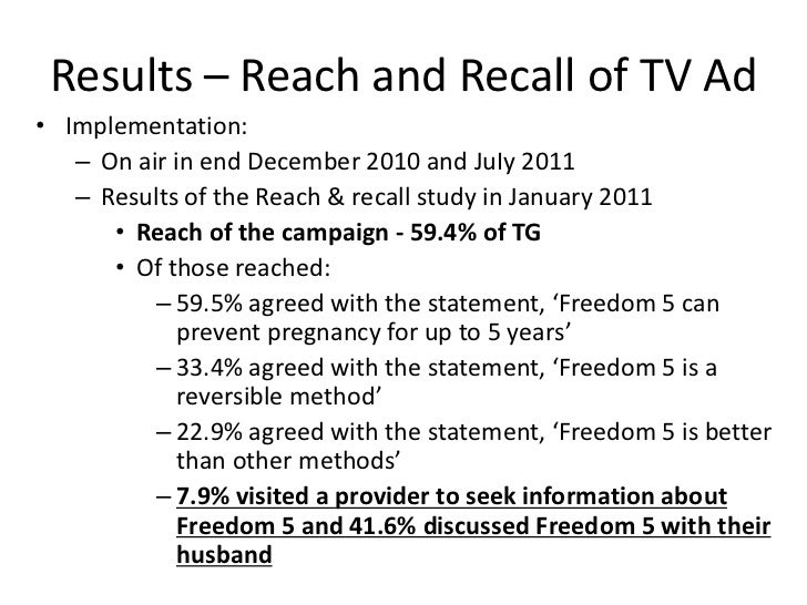 Results – Reach and Recall of TV Ad• Implementation:   – On air in end December 2010 and JuIy 2011   – Results of the Reac...