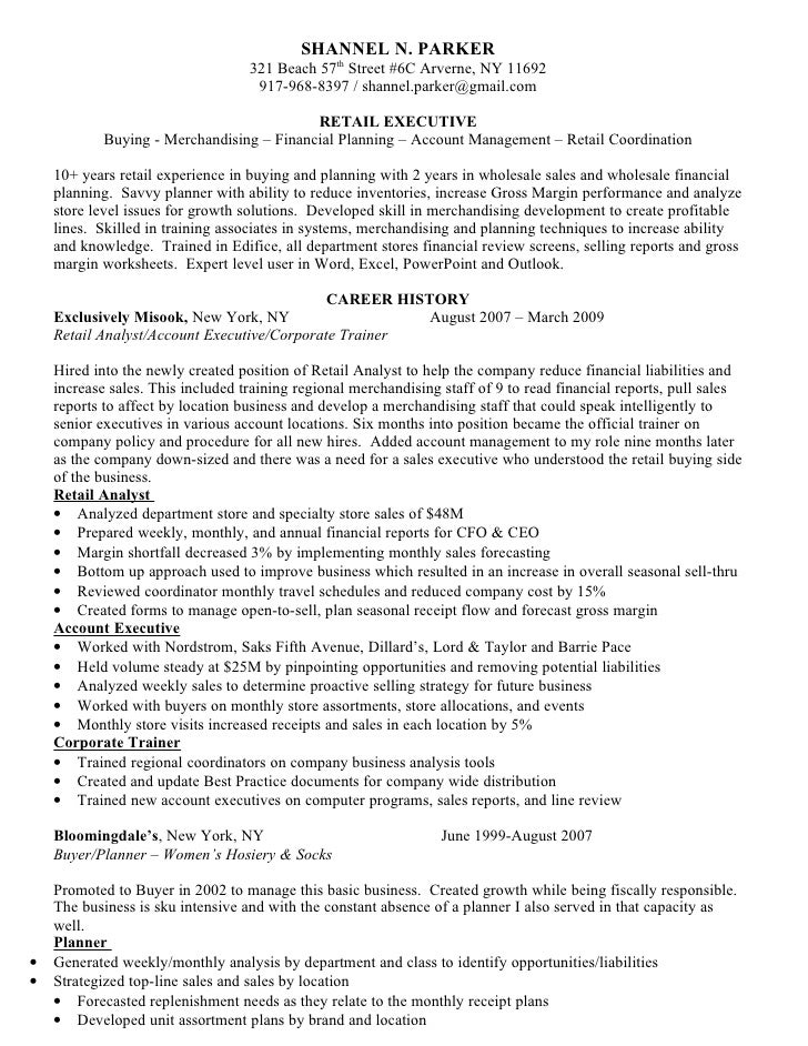 shannel n parker 321 beach 57th - Wholesale Buyer Resume