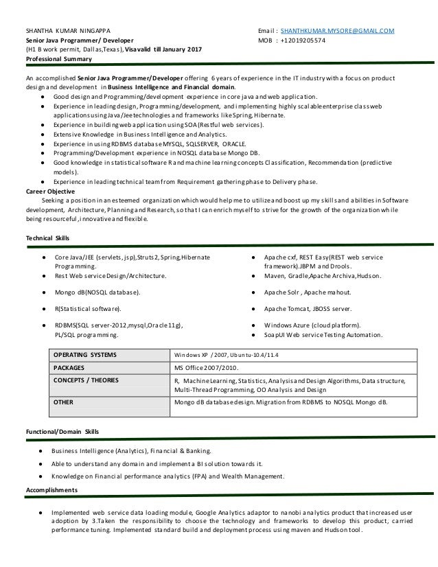 shantha kumar ningappa email shanthkumarmysoregmailcom senior java programmer - Restful Web Services Resume