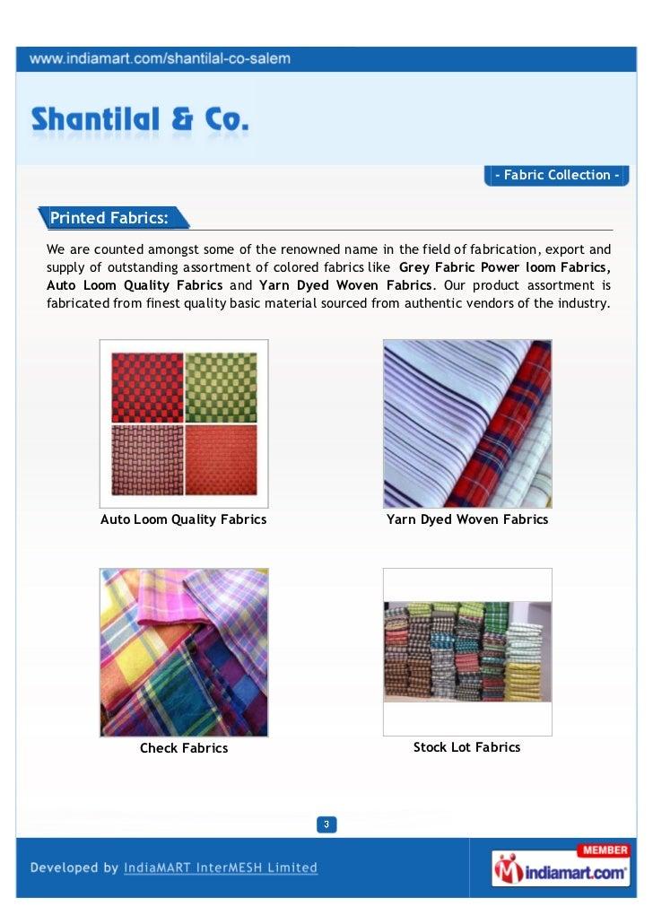 Shantilal & Co., Salem, Colored Fabrics Slide 3
