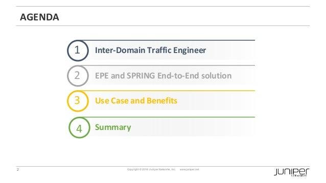 2 Copyright © 2016 Juniper Networks, Inc. www.juniper.net AGENDA Inter-Domain Traffic Engineer1 2 Use Case and Benefits3 S...