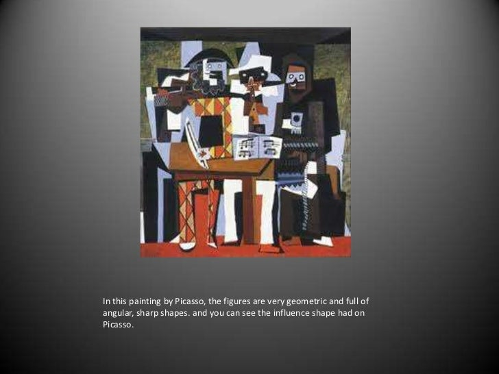 In this painting by Picasso, the figures are very geometric and full of angular, sharp shapes. and you can see the influen...