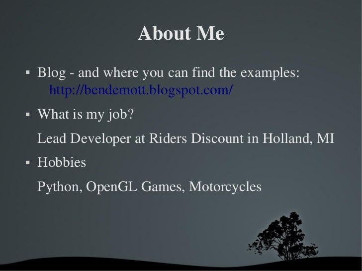 AboutMe   Blogandwhereyoucanfindtheexamples:     http://bendemott.blogspot.com/   Whatismyjob?    LeadDeve...