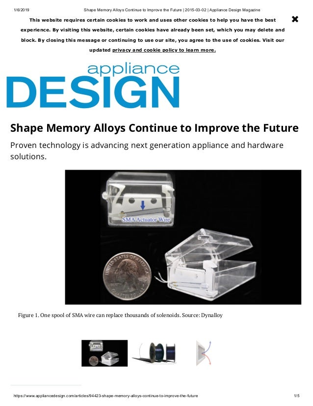 Shape memory alloys continue to improve the future 2015 03