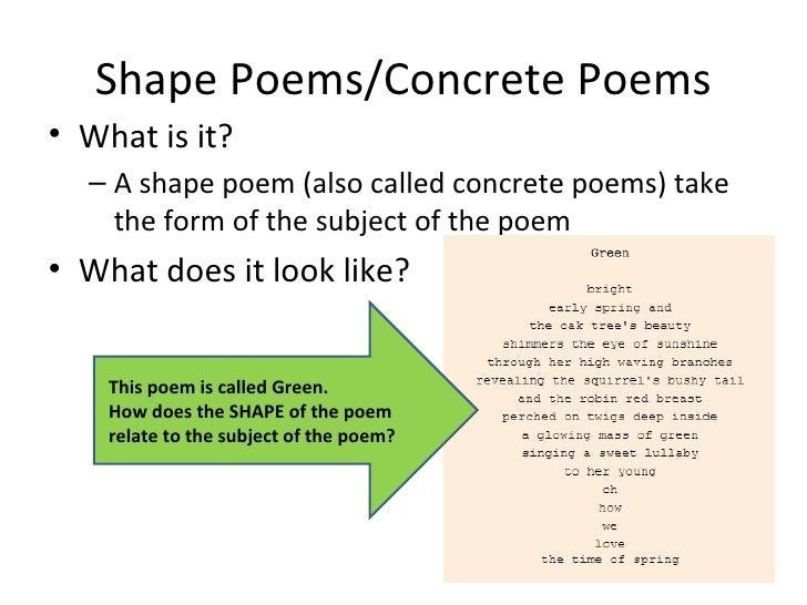 Shape Poems/Concrete Poems <ul><li>What is it? </li></ul><ul><ul><li>A shape poem (also called concrete poems) take the fo...