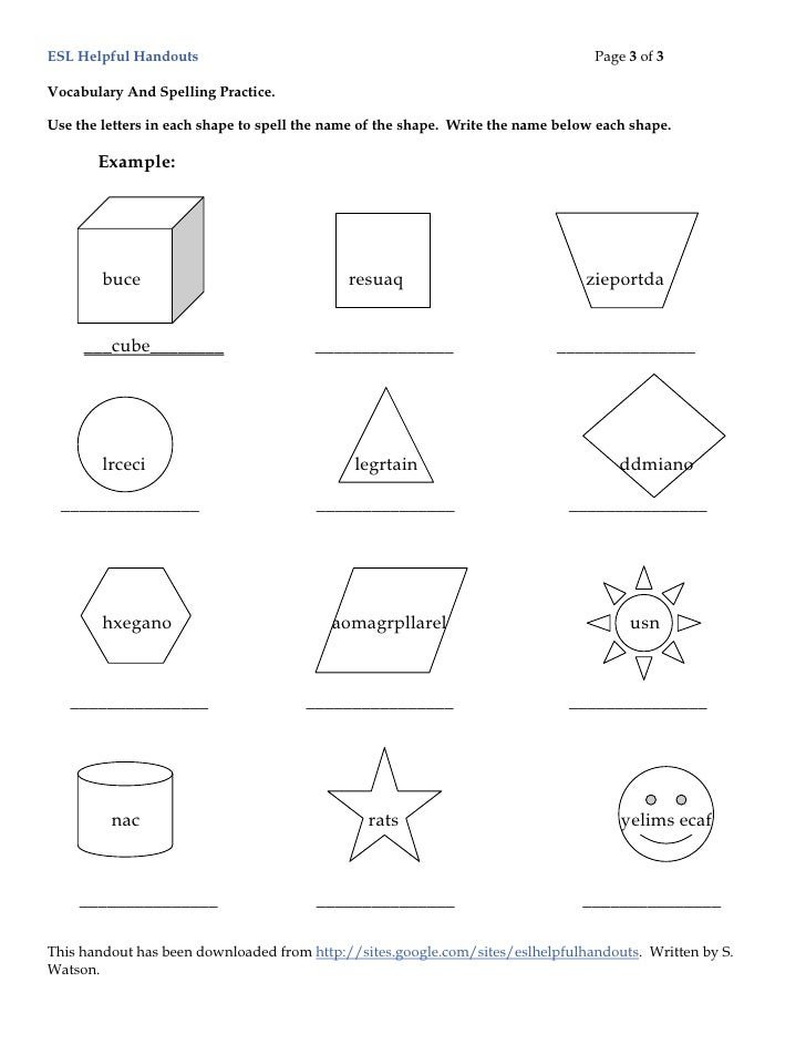 ESL Helpful Handouts-Shapes And Places