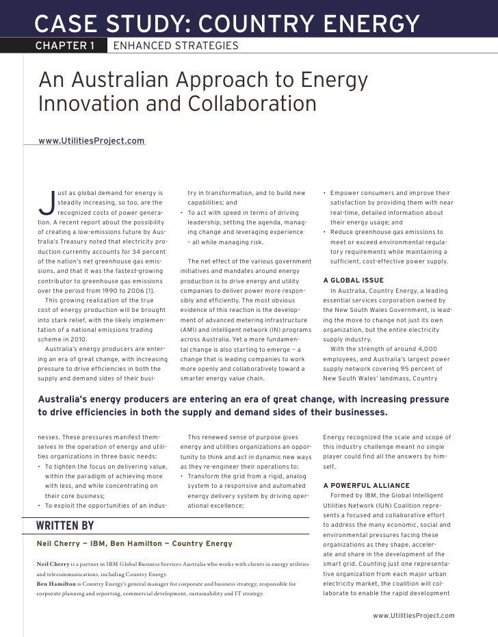 CASE STUDY: COUNTRY ENERGY CHAPTER 1                     ENHANCEDSTRATEGIES   An Australian Approach to Energy Innovation...