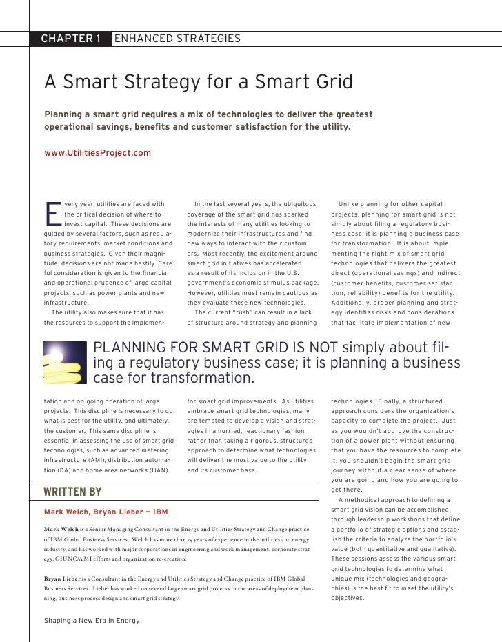 CHAPTER 1                  ENHANCED STrATEGIES    A Smart Strategy for a Smart Grid Planning a smart grid requires a mix o...