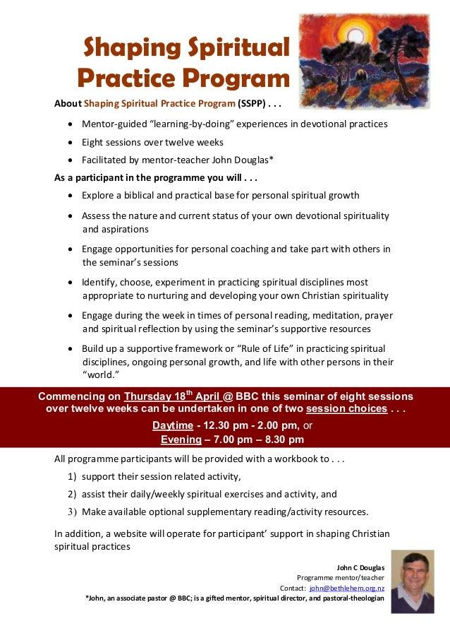 "Shaping Spiritual        Practice Program   About Shaping Spiritual Practice Program (SSPP) . . .       Mentor-guided ""le..."