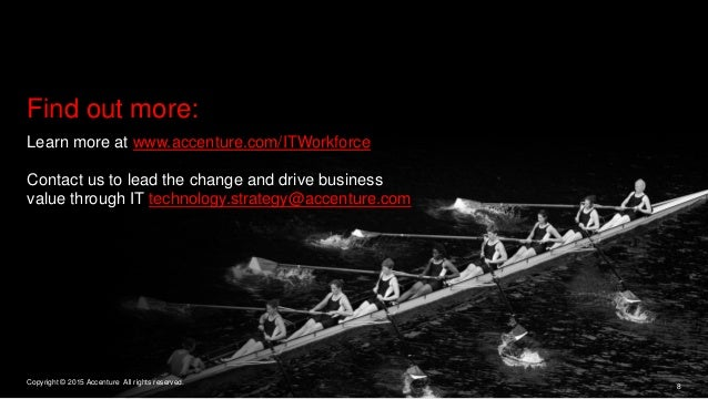 Learn more at www.accenture.com/ITWorkforce Contact us to lead the change and drive business value through IT technology.s...