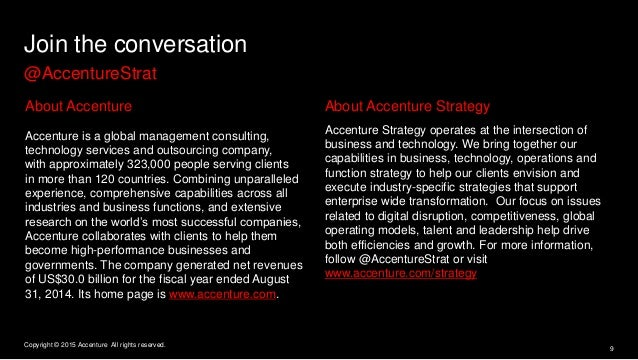 Join the conversation @AccentureStrat About Accenture Accenture is a global management consulting, technology services and...