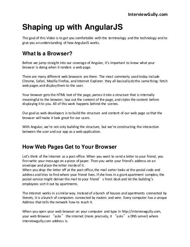 InterviewGully.com  Shaping up with AngularJS  The goal of this Video is to get you comfortable with the terminology and t...