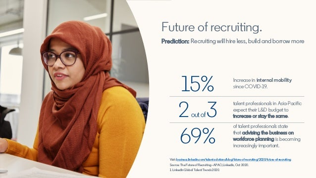 Future of recruiting. Prediction: Recruiting will hire less, build and borrow more Visit: business.linkedin.com/talent-sol...