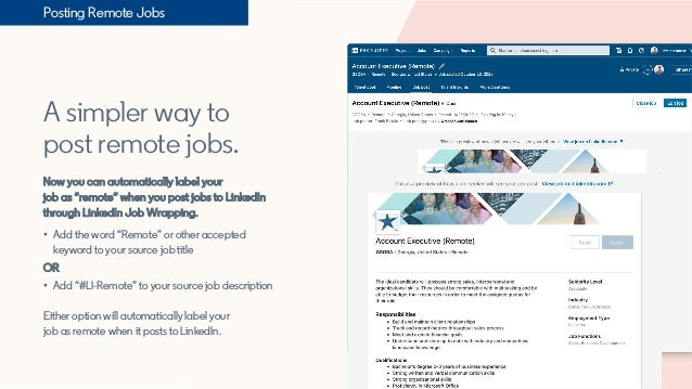 """A simpler way to post remote jobs. Now you can automatically label your job as """"remote"""" when you post jobs to LinkedIn thr..."""