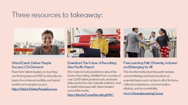 Three resources to takeaway: Virtual Event: Deliver People Success | On-Demand Hear from talent leaders on how they are th...