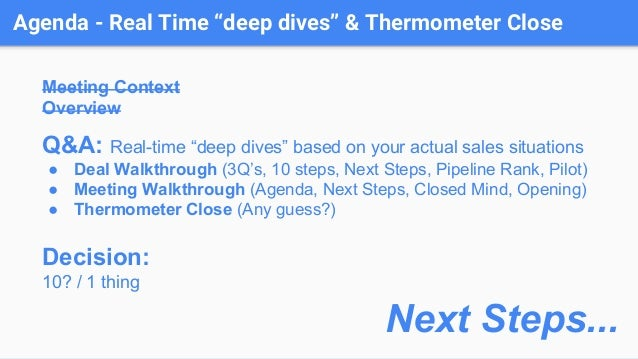 """Agenda - Real Time """"deep dives"""" & Thermometer Close Meeting Context Overview Q&A: Real-time """"deep dives"""" based on your act..."""