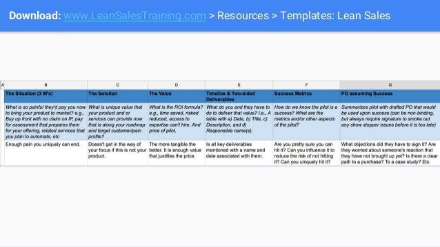 Download: www.LeanSalesTraining.com > Resources > Templates: Lean Sales