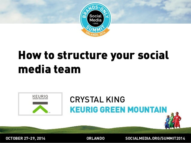 How to structure your social  media team  CRYSTAL KING  KEURIG GREEN MOUNTAIN  OCTOBER 2729, 2014 ORLANDO SOCIALMEDIA.ORG/...