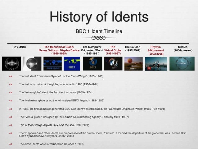 history of the bbc's idents The history of bbc television logos dates back to the 1950s  when the  company started to use idents to distinguish each of their channels.