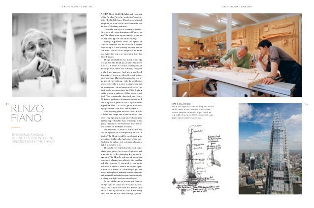 RENZO  PIANO  the world-famous  architect's vision for his  greatest work, the shard  a r chit ec t u r e & d e sgin a r c...