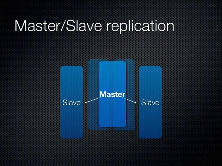 Master/Slave replication                   Master        Slave            Slave