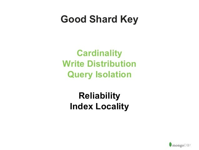 27  Good Shard Key  Cardinality  Write Distribution  Query Isolation  Reliability  Index Locality