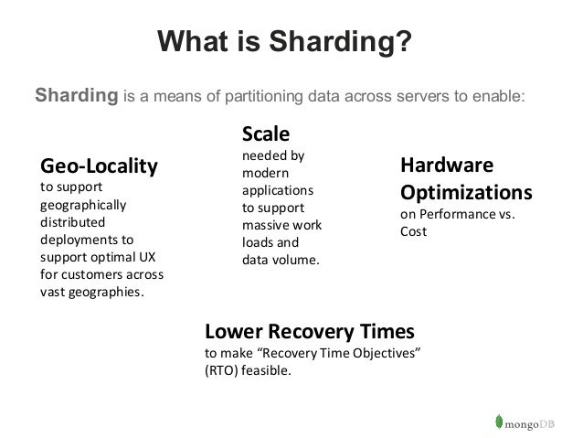 3  What is Sharding?  Sharding is a means of partitioning data across servers to enable:  Scale  needed by  modern  applic...