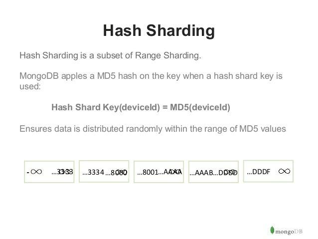 6  Hash Sharding  Hash Sharding is a subset of Range Sharding.  MongoDB apples a MD5 hash on the key when a hash shard key...