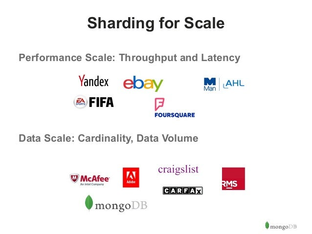 9  Sharding for Scale  Performance Scale: Throughput and Latency  Data Scale: Cardinality, Data Volume