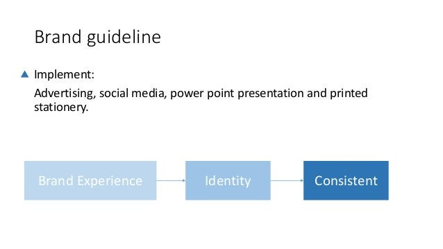 Brand guideline Implement: Advertising, social media, power point presentation and printed stationery. Brand Experience Id...
