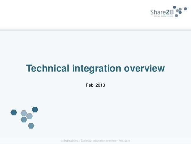 Technical integration overview                            Feb. 2013       © Share2B Inc. / Technical integration overview ...