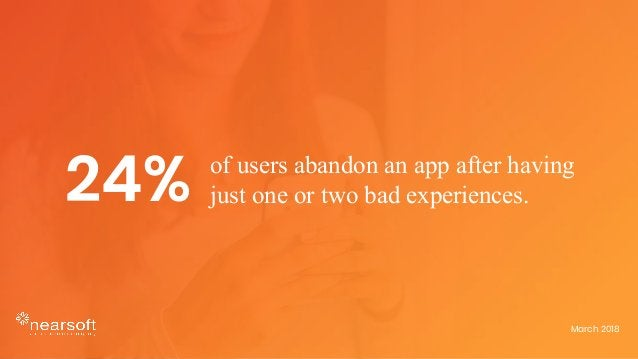 of users abandon an app after having just one or two bad experiences.24% March 2018