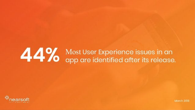 Most User Experience issues in an app are identified after its release. March 2018 44%