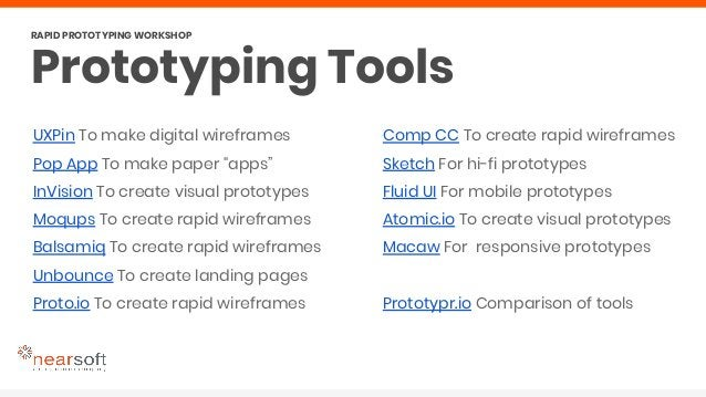 """UXPin To make digital wireframes Pop App To make paper """"apps"""" InVision To create visual prototypes Moqups To create rapid ..."""