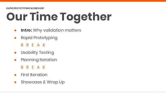 ● Intro: Why validation matters ● Rapid Prototyping B R E A K ● Usability Testing ● Planning Iteration B R E A K ● First I...