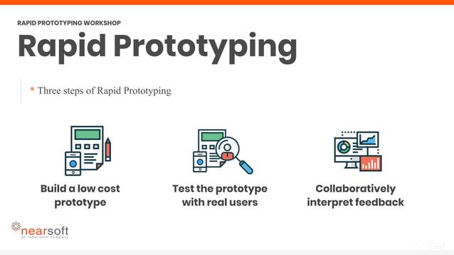 * Three steps of Rapid Prototyping Rapid Prototyping RAPID PROTOTYPING WORKSHOP Build a low cost prototype Test the protot...