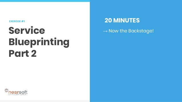 EXERCISE # 3 Service Storming 10 MINUTES → Select a stage from your current state blueprint you would like to iterate on. ...