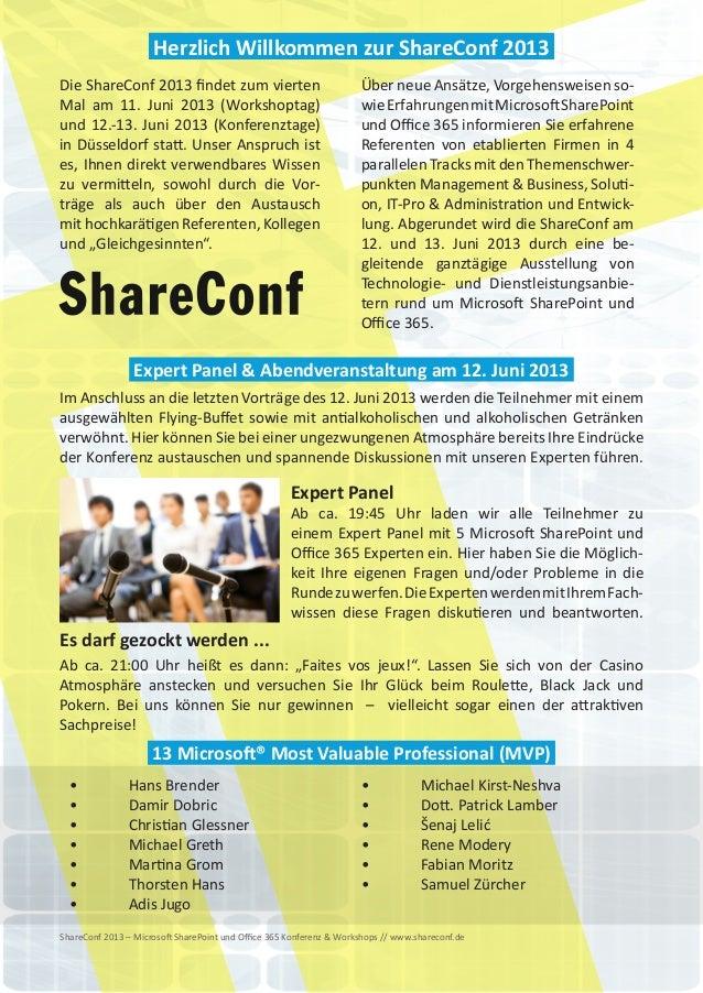 ShareConf 2013 - Microsoft SharePoint und Office 365 Konferenz & Workshops Slide 2