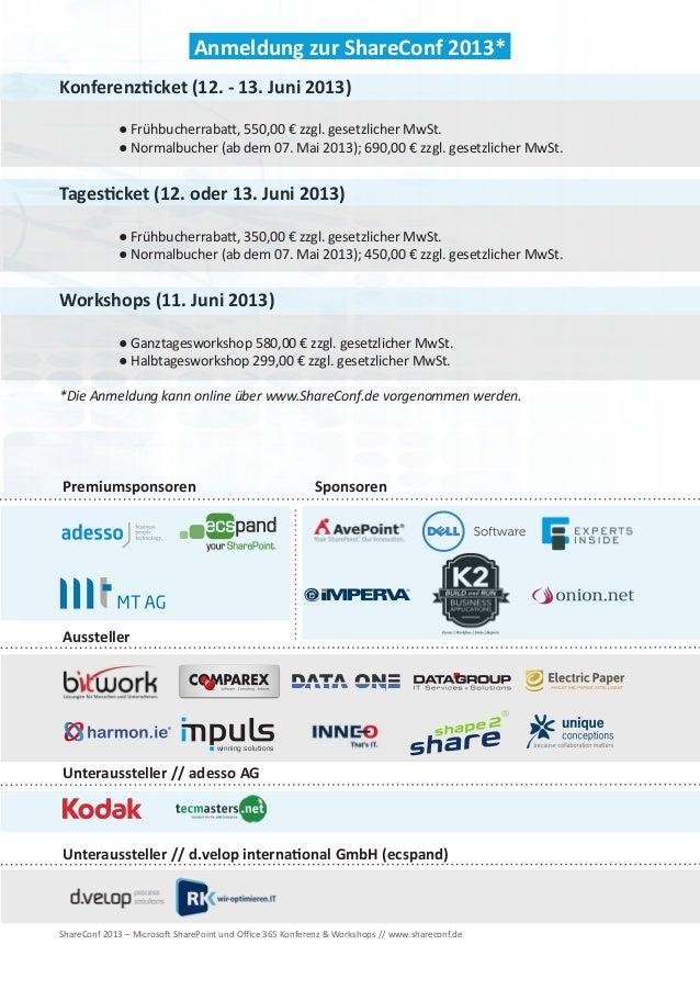 ShareConf 2013 - Microsoft SharePoint und Office 365 Konferenz & Workshops Slide 3