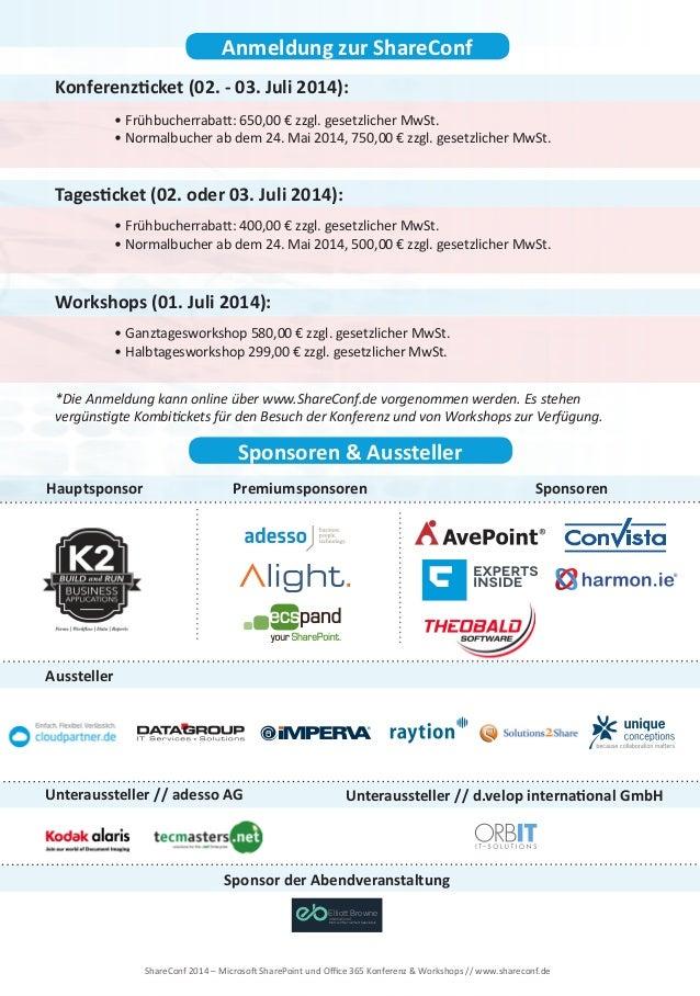ShareConf 2014 - Die Konferenz zu Microsoft SharePoint und Office 365 Slide 3
