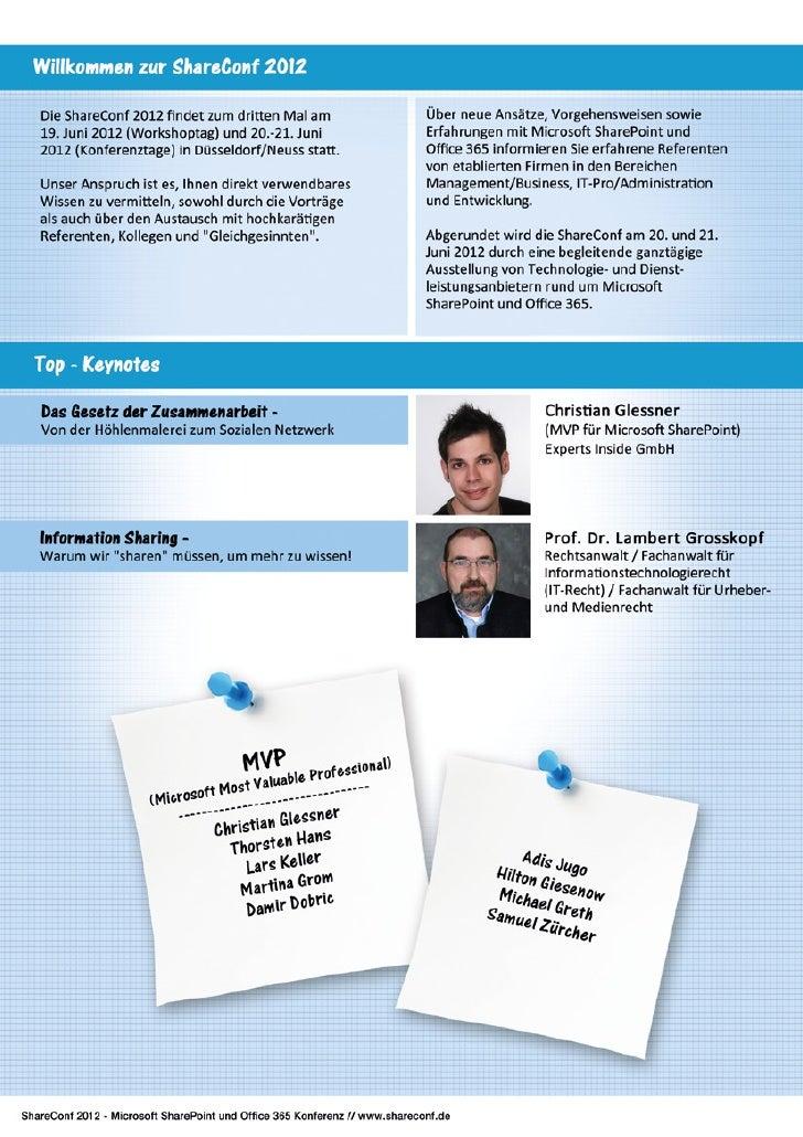 ShareConf 2012 - DIE Konferenz über Microsoft SharePoint und Office 365 Slide 2
